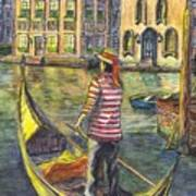 Sunset On Venice - The Gondolier Art Print
