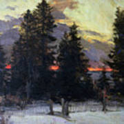 Sunset Over A Winter Landscape Print by Abram Efimovich Arkhipov