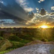 Sunset Over Badlands Np Yellow Mounds Overlook Art Print