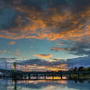 Sunset Over Boat Ramp At Anacortes Marina Art Print