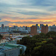 Sunset Over Clarke Quay And Fort Canning Park Art Print