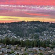 Sunset Over Happy Valley Residential Neighborhood Art Print