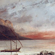 Sunset Over Lake Leman Art Print by Gustave Courbet
