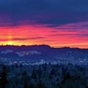 Sunset Over Marquam Hill Art Print