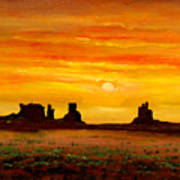 Sunset Over Monument Valley Art Print