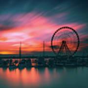 Sunset Over National Harbor Ferris Wheel Art Print