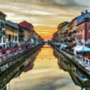 Sunset Over Naviglio Grande Art Print