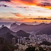 Sunset Over Rio De Janeiro  Art Print