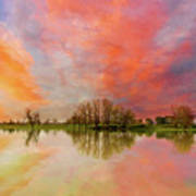 Sunset Over Sauvie Island Art Print