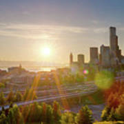 Sunset Over Seattle Downtown Skyline Art Print