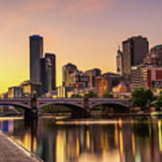 Sunset Over Skyscrapers Of Melbourne Downtown And Princes Bridge Art Print