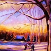 Sunset Over The Hockey Game Art Print