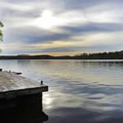Sunset Over The Lake. Art Print