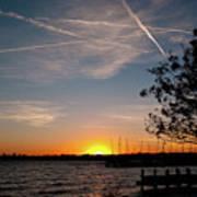 Sunset Over The Marina Art Print