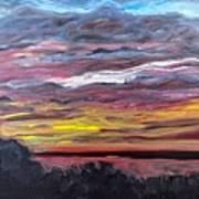 Sunset Over The Mississippi Art Print