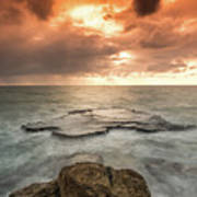 Sunset Over The Sea In Israel Art Print