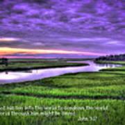 Sunset Over Turners Creek John 3 17 Art Print