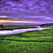 Sunset Over Turners Creek Savannah Tybee Island Ga Art Print