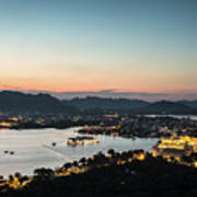 Sunset Over Udaipur In India Art Print