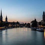 Sunset Over Zurich Art Print