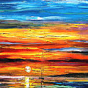 Sunset - Palette Knife Oil Painting On Canvas By Leonid Afremov Art Print