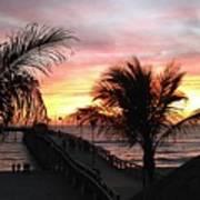 Sunset Palms At Sharky's On The Pier Art Print