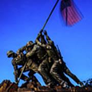 Sunset Photo At The Iwo Jima Monument Art Print