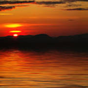 Sunset Reflection On The Lake Art Print