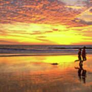 Sunset Ocean Runners Art Print