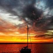 Sunset Sailboat Art Print