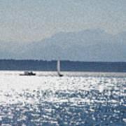 Sunset Sailboats  Art Print