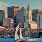 Sunset Sails On Boston Harbor Art Print