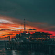 Sunset Santa Monica Pier Art Print
