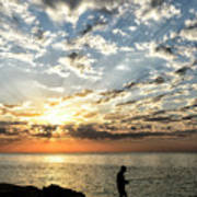 Sunset Sea Fishing  Art Print