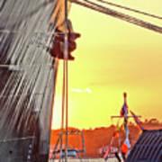 Sunset Ship Art Print