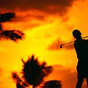 Sunset Silhouetted Golfer Art Print