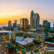 Sunset Sunrise Over Charlotte Skyline North Carolina Art Print
