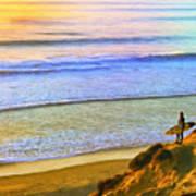 Sunset Surf At La Jolla Art Print