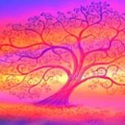 Sunset Tree Cats Art Print