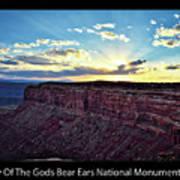 Sunset Valley Of The Gods Utah 03 Text Black Art Print