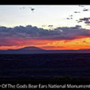 Sunset Valley Of The Gods Utah 05 Text Black Art Print