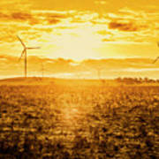 Sunsets And Golden Turbines Art Print