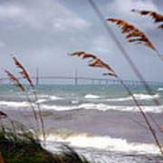 Sunshine Skyway Bridge Viewed From Fort De Soto Park Art Print