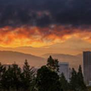 Sunsrise Over City Of Portland And Mount Hood Art Print