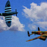 Supermarine Spitfire Mk1 And Avro Lancaster - Oil Art Print