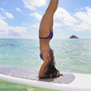Surfboard Headstand Art Print by Tomas del Amo - Printscapes