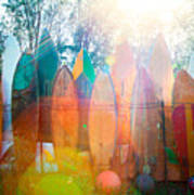 Surfboards Sun Flare Art Print by Monica and Michael Sweet
