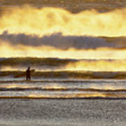 Surfer Faces Wind And Waves, Morro Bay, Ca Art Print