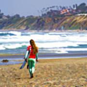 Surfer Girl At Seaside, Ca Art Print