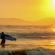 Surfer In The Golden Ocean Art Print